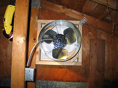 view of attic fan from the back